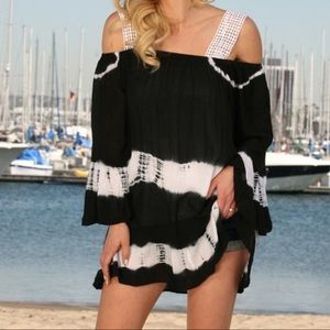 Other - Black & White Tie-Dye Off-Shoulder Cover-Up